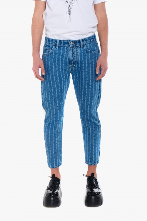 Men monogram Capri jeans