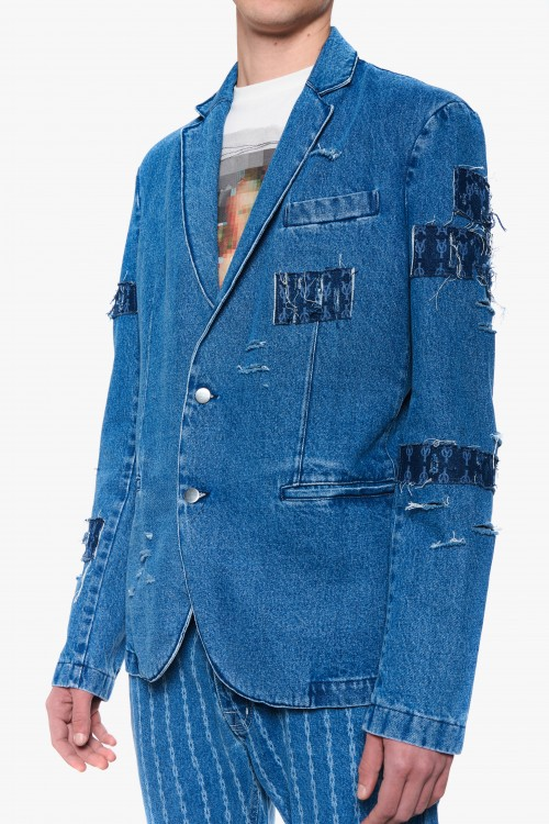 Men patched denim blazer