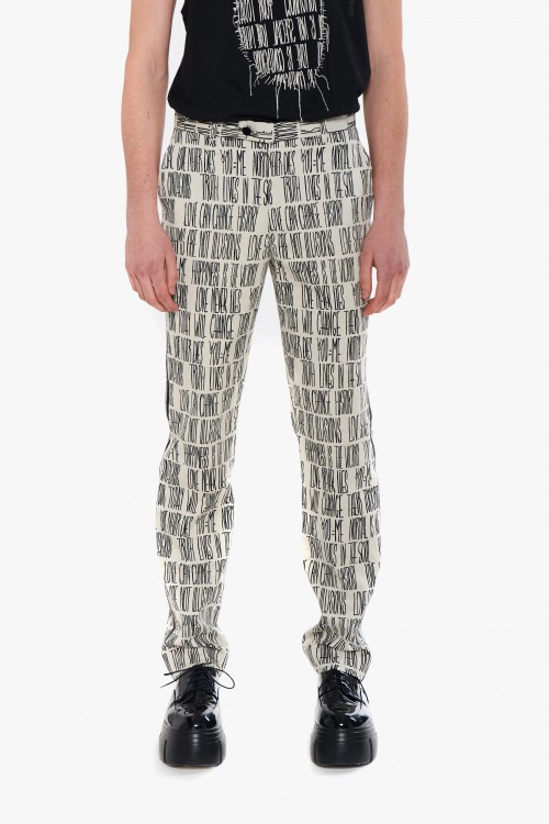 Man trousers with Manifesto...